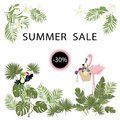 Tropical template for summer sale poster, banner, postcard, flowers, plantn, flamingo, toucan birds Vector isolated