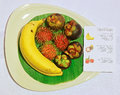 Tropical thai fruits with description note the are banana mangosteen and rambotan Stock Photo