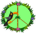 Tropical Toucan Peace Sign Royalty Free Stock Photo