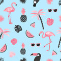 Tropical trendy pattern with watercolor flamingo, watermelon slices and palm leaves.