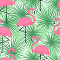 Tropical trendy seamless pattern with flamingos and palm leaves. Exotic Hawaii art background.