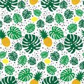 Tropical trendy seamless pattern with pineapples, lemons and green palm leaves on white background.
