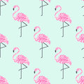 Tropical trendy seamless pattern with pink decorative flamingos from palm leaves on mint green background.