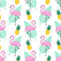 Tropical trendy seamless pattern with pink flamingos, pineapples and green palm leaves on white background.
