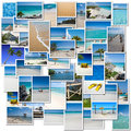 Tropical trip collection collage of pictures evoking a to the caribbean Royalty Free Stock Images
