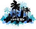 Tropical urban party city background Royalty Free Stock Photo