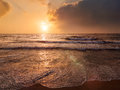 Tropical vacation background - ocean sea sunrise Royalty Free Stock Photo