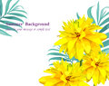 Tropical vector floral card. Summerl template design with palm leaves and exotic yellow flowers Royalty Free Stock Photo