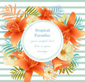Tropical vector floral round card. Summerl template design with palm leaves and exotic flowers Royalty Free Stock Photo
