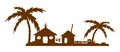 Tropical village silhouette of buildings isolated on a white background one shape one color vector Royalty Free Stock Images