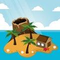 Tropical volcano hut palm tree sunlight starfish sand Royalty Free Stock Photo