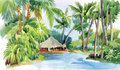Tropical watercolor beach with palm trees and hut vector illustration