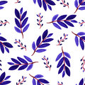 Tropical watercolor leaves seamless pattern. Vector texture with hand paint violet branches. Royalty Free Stock Photo