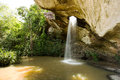 Tropical waterfall sang chan water comes out of the rock Stock Images