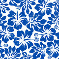 Tropical weathered blue hibiscus seamless pattern Royalty Free Stock Photo