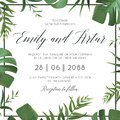 Tropical wedding floral invitation, invite card. Vector watercolor style exotic palm tree green leaves, forest greenery herbs, nat Royalty Free Stock Photo