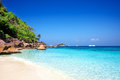 Tropical white sand beach arainst blue sky. Similan islands, Tha Royalty Free Stock Image