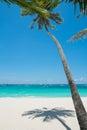 Tropical white sand beach with coconut palm boracay island philippines Royalty Free Stock Photos