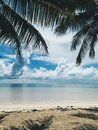 stock image of  Tropical white sandy beach with palm trees and low clouds above the horizon
