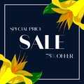 Tropical yellow flower petal on dark blue background. 75% Sale banner template design. Big sale special offer. Special offer banne Royalty Free Stock Photo