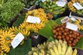 Tropicals fruits in thai market with prices local baht currency Stock Photography