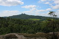 Trosky castle view to from borecke rocks in czech paradise Royalty Free Stock Photo