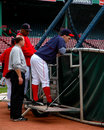 Trot nixon boston red sox of behind the batting cage Royalty Free Stock Photos