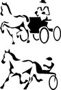 Trotter and harness racing stylized black and white illustration Stock Photo