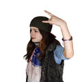 Troubled teen teenage girl with countercultural appearance portrait on white background Royalty Free Stock Image