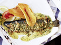 Trout with almonds sauce Royalty Free Stock Photography