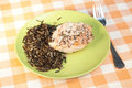 Trout baked with spices and wild rice Royalty Free Stock Photos