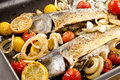 Trout fillet in a pan Royalty Free Stock Photos