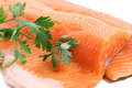 Trout fillet with parsley closeup Royalty Free Stock Image