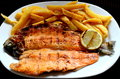 Trout with french fries Royalty Free Stock Photography