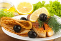 A trout is fried with lemon Stock Images