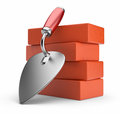 Trowel and bricks. Work place. 3D icon  Royalty Free Stock Photography