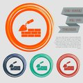 Trowel building and brick wall icon on the red, blue, green, orange buttons for your website and design with space text. Royalty Free Stock Photo