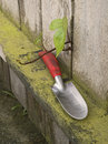 Trowel and Vine on Fence Royalty Free Stock Photo