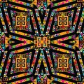 Trtibal greek vector seamless pattern. Ethnic ornamental geometric background. Hand drawn striped tribe ornaments in aztec style. Royalty Free Stock Photo