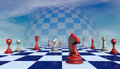 Truce chess pieces on a chessboard long fantastic background Royalty Free Stock Photo