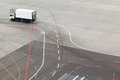 Truck airfield and markings on apron Royalty Free Stock Image