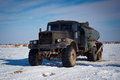 Truck all terrain running in the steppe betpakdala Stock Photo