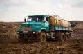 Truck all terrain running in the steppe betpakdala Stock Photos