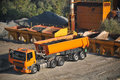 Truck on the asphalt plant Royalty Free Stock Image
