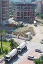 Truck brought the concrete for the construction alanya jul building on july in alanya turkey european union has declared Stock Photography
