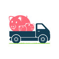 A truck carries pigs