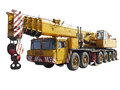 Truck crane isolated yellow on white background Stock Images