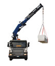 Truck delivering wood package isolated a with a telescopic crane delivers packages containing a fir block house a pre cut wooden Royalty Free Stock Photography