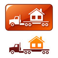 Truck delivers the house. Vector icon Royalty Free Stock Photo