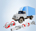 Truck drive shaft crankshaft directional arrows twisting moments Royalty Free Stock Photography